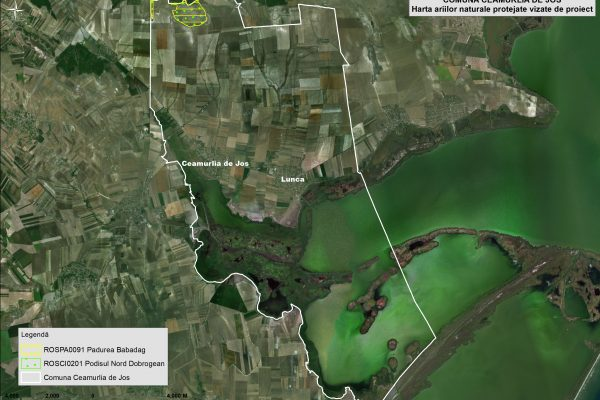 Ceamurlia de Jos harta ariilor naturale vizate de proiect