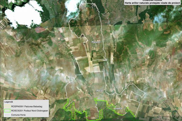 Horia harta ariilor naturale vizate de proiect