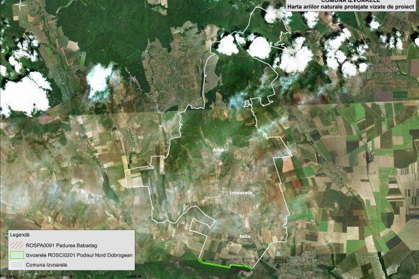 Izvoarele harta ariilor naturale vizate de proiect