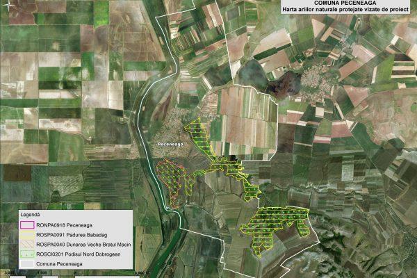 Peceneaga harta ariilor naturale vizate de proiect