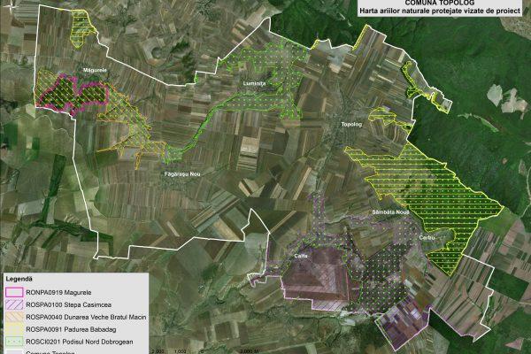 Topolog harta ariilor naturale vizate de proiect